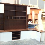 Bespoke TV unit , Cream gloss with walnut worktop(manufactured)