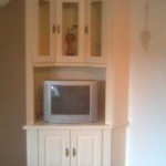 Painted cream  TV unit with glass doors