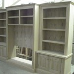 Solid oak bookcase and TV unit