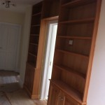 Solid oak hall bookcase unit